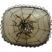 Art Deco Era Spider on Camphor Glass Brooch