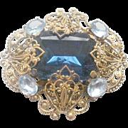 Gorgeous Blue Glass Filigree Brass Brooch