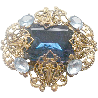 Gorgeous Blue Glass Filigree Brass Brooch