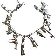 Vintage Sterling Ice Skating Themed Charm Bracelet 12 Charms