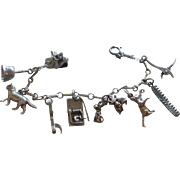 Vintage Sterling Cat and Mouse Themed Charm Bracelet