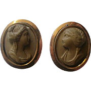 Victorian Era Facing Lava Cameo Gold Filled Buttons