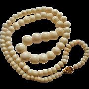 "Vintage 14K Blush Coral 23"" Graduated Necklace"