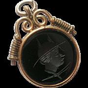Victorian Era Sardonyx Intaglio Gold Filled Fob