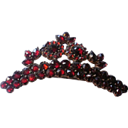 "Art Deco Era Bohemian Garnet Silver ""Crown"" Brooch"