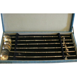 Set of Japanese 950 Sterling Mint Julep Straws in Fitted Box