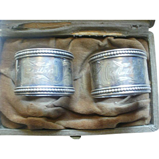 Victorian Era Sterling Mother-Father Napkin Rings in Box