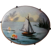 Hand Painted Porcelain Miniature Lake Scene Brooch