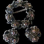 Weiss NY  Rhinestone & Enamel Pin and Earrings Set