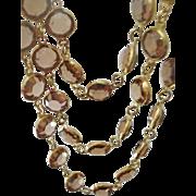 Retro Era Three Strand Open Back Champagne Crystal Necklace