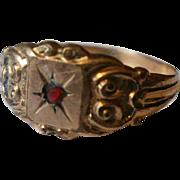Victorian Signet 10k Garnet Ring -11 1/4