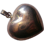 Large Sterling Mexico Puffy Heart Pendant