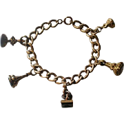 Victorian Gold & GF Miniature Seal Fob Charm Bracelet