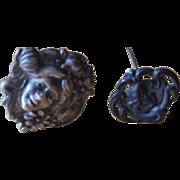 "Pair of Art Nouveau 8"" Brass Hat Pins"