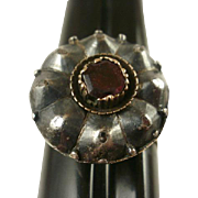 Silver Top 14k Garnet Georgian Ring