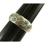 Egyptian Hallmarked Sterling Persian Turquoise Ring~8 1/2