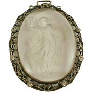Large Art Deco Era Crystal Intaglio Paste Silver Pendant
