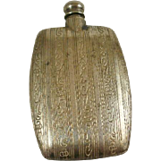 Vintage Ornate Nickel Silver Pocket Perfume Flask