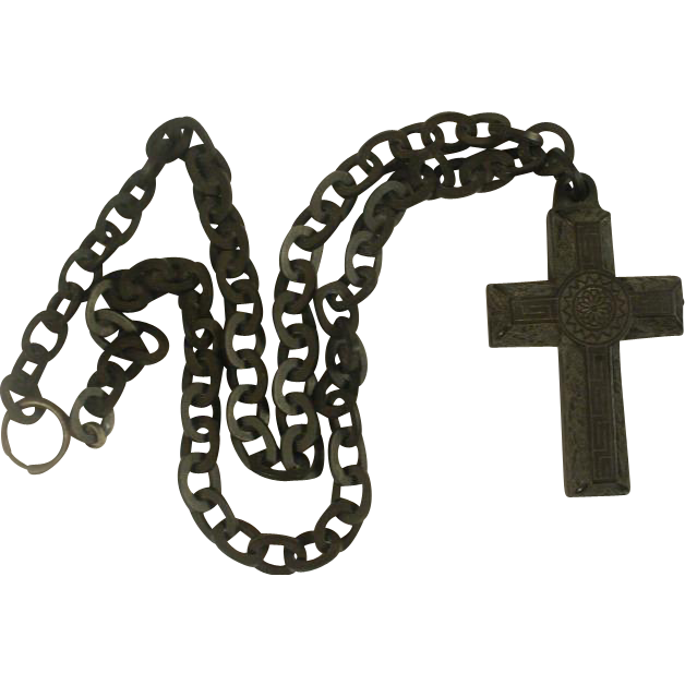Long Gutta Percha Chain and Large Cross Pendant
