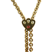 Ladies Gold Filled Garnet Seed Pearl Watch Chain