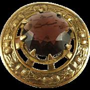 Huge Retro Era Amethyst Glass Thistle Pin/Pendant