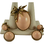 Fabulous Retro Era Coral Lucite Pin and Earring Set