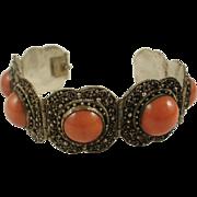 Vintage 800 Silver Coral Glass Cannetille Bracelet