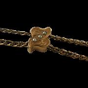 Vintage Gold Filled Ladies Seed Pearl Slide Watch Chain