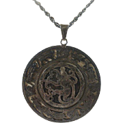 Large  Silver Aztec Style Hunter and Animals Pendant