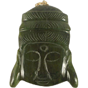 Very Large Carved Jade Buddha Pendant 14k Finding