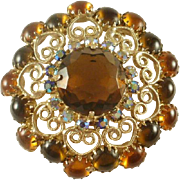 Large D&E Cabochon and Rhinestone Brooch