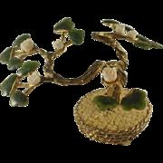 Carved Jade & Coral Miniature Bonsai Tree