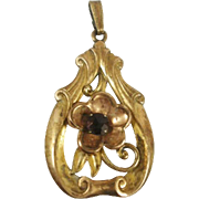 Art Nouveau Style Large Gold Filled Iskin Pendant