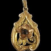 Art Nouveau Style Large Gold Filled Iskin Pendant
