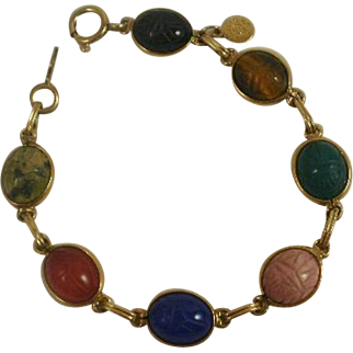 Retro Era Gold Filled Natural Stone Scarab Bracelet
