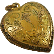 """Gorgeous Gold Filled Paste """"Puffy"""" Heart Locket"""