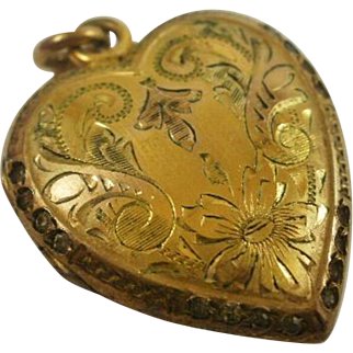 "Gorgeous Gold Filled Paste ""Puffy"" Heart Locket"