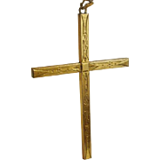 """3"""" Victorian Era Gold Filled Etched Cross Pendant on Chain"""