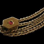 Vintage Gold Filled Ladies Garnet Slide Watch Chain