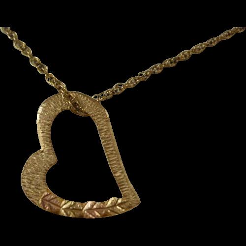 OSS Black Hills Gold 10k Floating Heart Pendant in Original Box