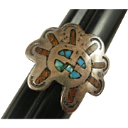 Sterling Coral Turquoise Figural Ring