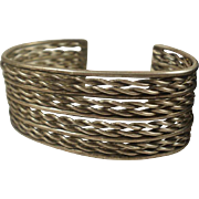Wide Vintage Silver Twisted Rope Cuff Bracelet