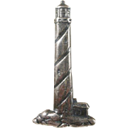 Sterling Light House Brooch