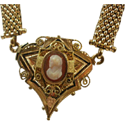 Victorian Era Gold Filled Mesh Cameo Book Chain Necklace