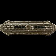 Edwardian Era Rhodium Plated Sapphire Glass Filigree Pin
