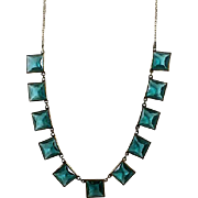 Art Deco Era Brass and Teal Glass Bezel Set Necklace