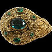 Vintage Brass & Glass Filigree Brooch