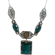 Vintage Rhodium Filigree Emerald-Glass Necklace