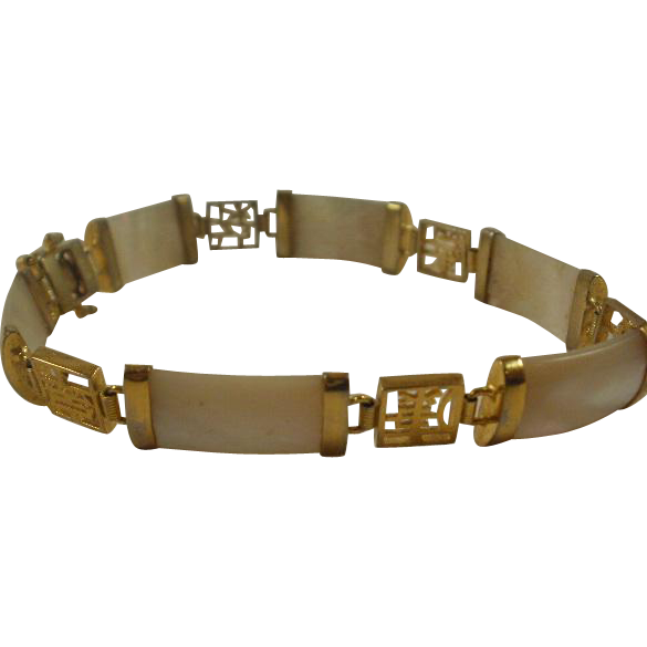 Asian Inspired Sterling Vermeil MOP Bracelet