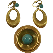 Mid Century Brushed Gold Toned Turquoise Enamel  Brooch and Earrings Set